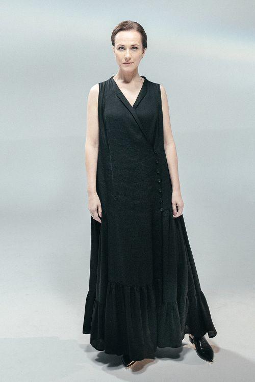 Платье-сарафан ярусы, тонкий лен