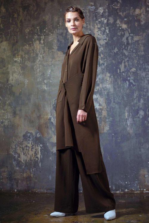 Платье-рубашка с пряжкой, креп