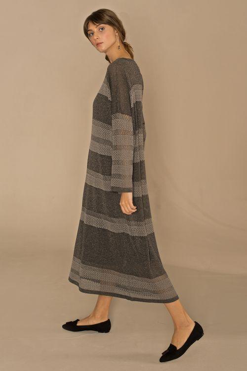 Платье с люрексом, антрацит