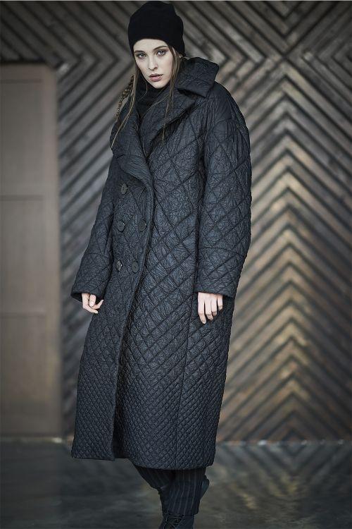 Пальто Овал с лацканами, стежка крэш, длинное
