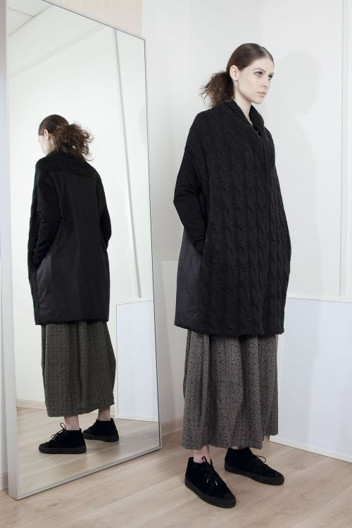 Пальто Косичка с рукавами из тонкой шерсти