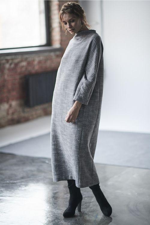 Платье Овал длинное, жатый жаккард
