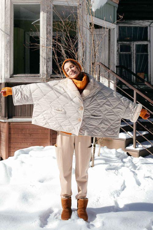 Куртка Пончо короткое с мехом