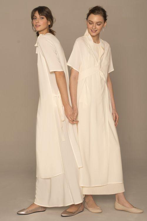 Платье А-силуэт двухслойное, кварц