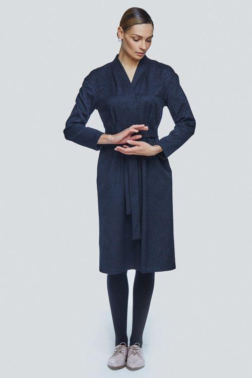 Платье со складками прямое жаккард