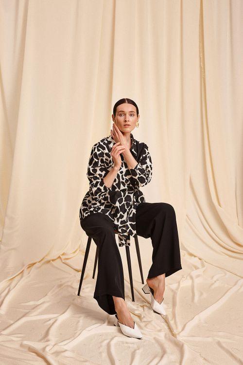 Блуза Жираф, комби с узлом