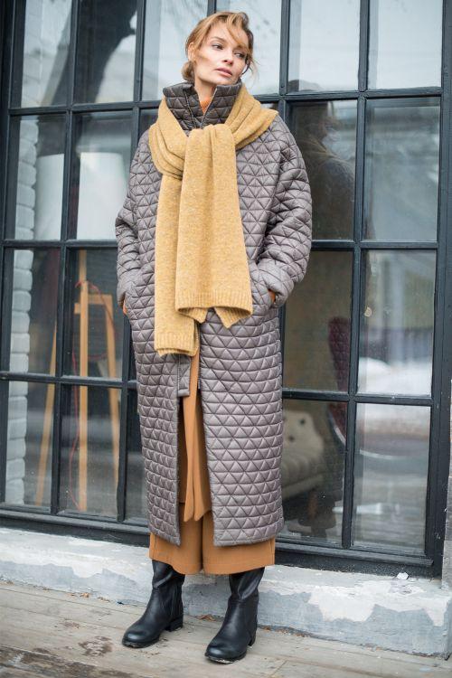 Пальто длинное, стёжка Паркет