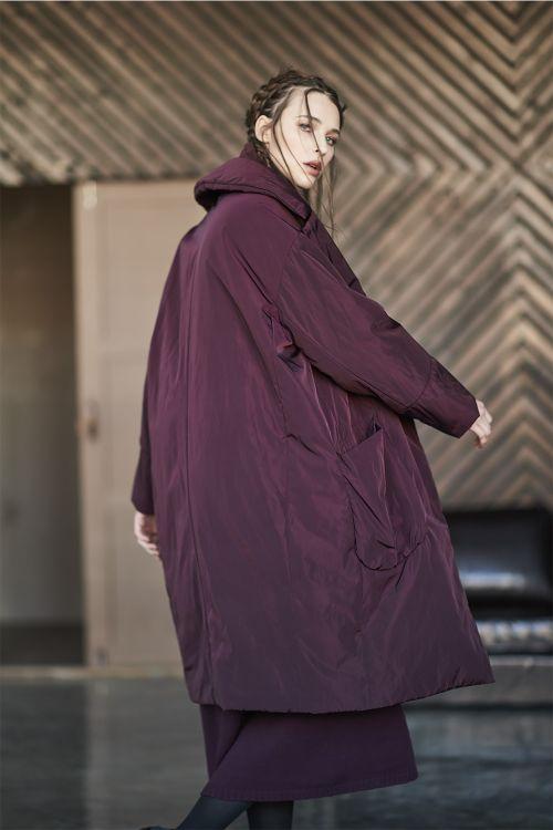 Пальто Овал с лацканами, с утеплителем, среднее