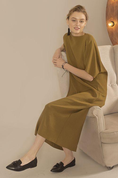 Платье Лодочка, гофре бронза