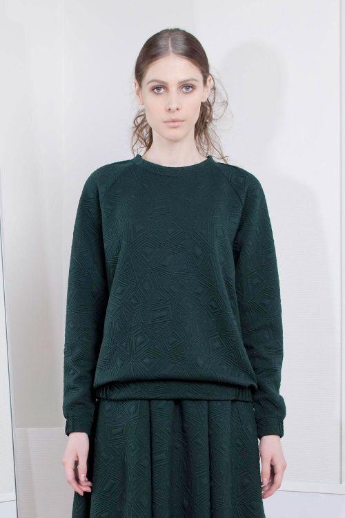Блуза джерси стеганая с защипами