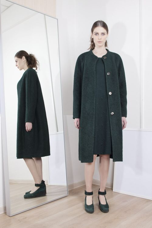 Пальто Футляр-букле, на подкладке