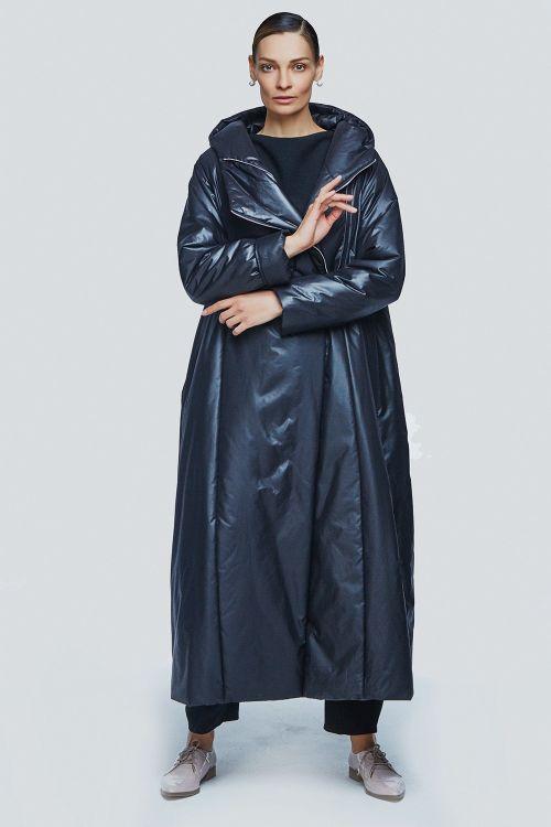 Пальто с капюшоном на синтепоне две молнии