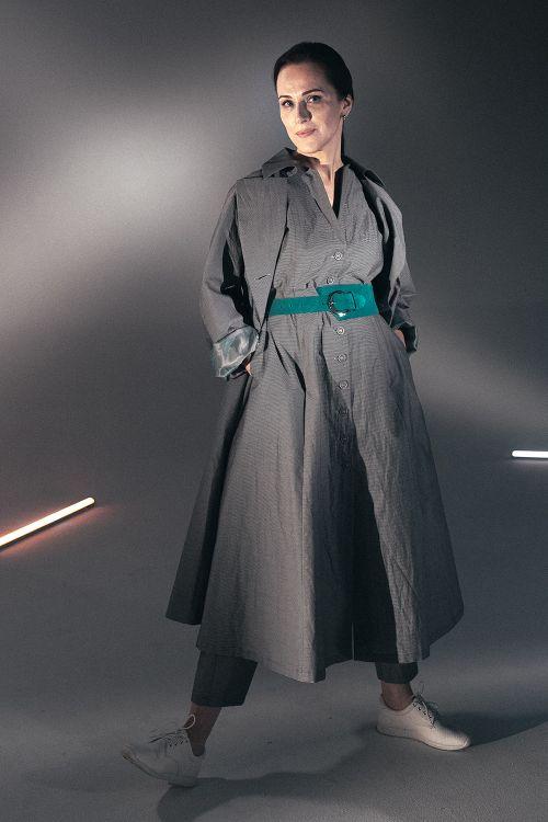 Платье  Жатка-полоска, на пуговицах
