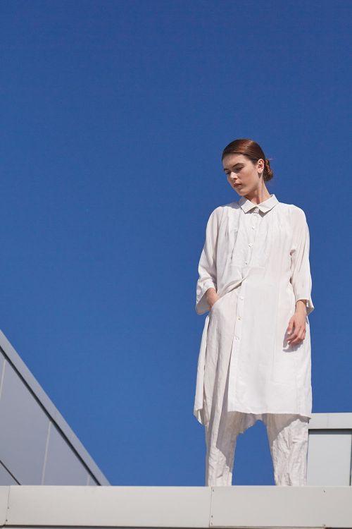 Блуза КОМБИ с воротником длинная шёлк