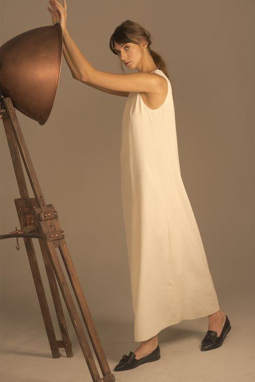 Платье длинное, гофре кварц