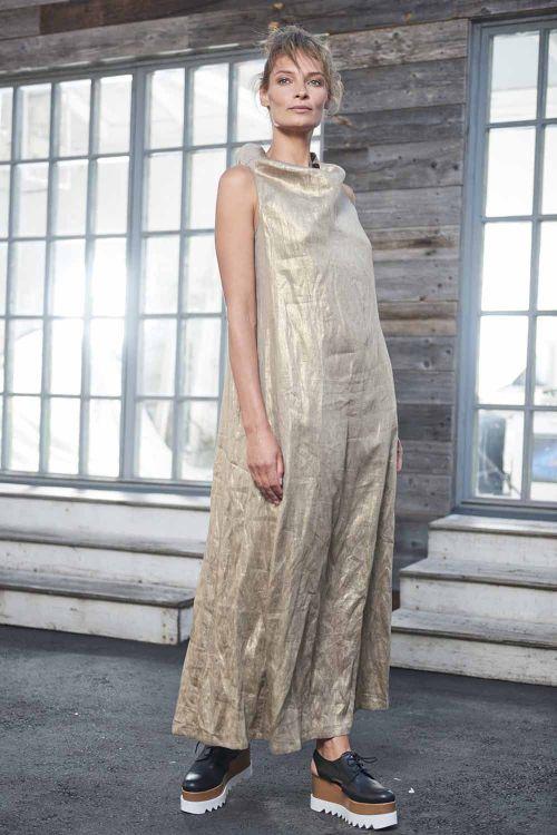 Платье золотое, без рукавов