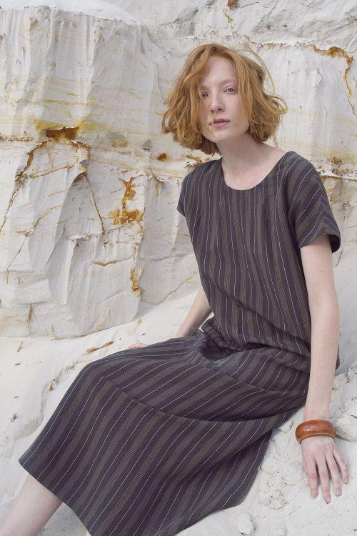 Платье прямое, лён-полосы