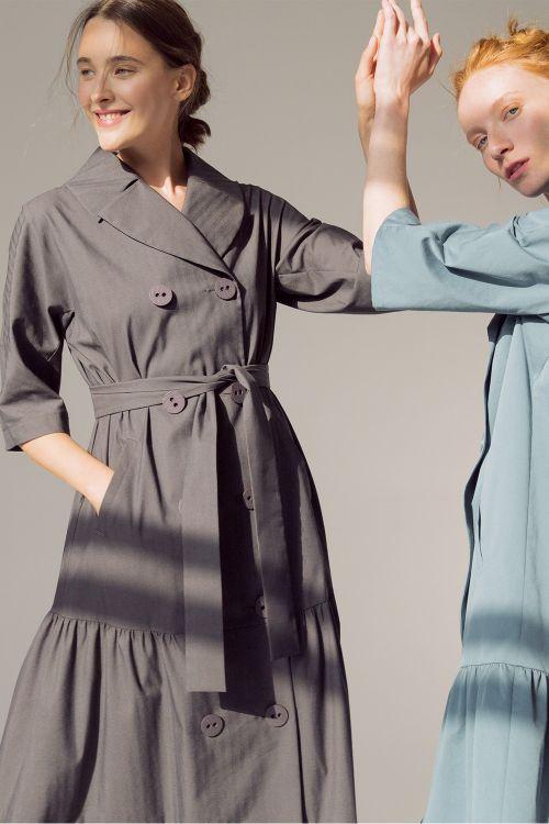 Платье двубортное Ярусы, длинное