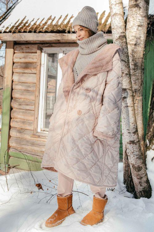 Пальто Стежка мех с капюшоном